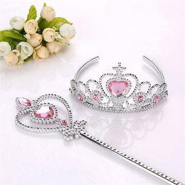Wholesale Princess Crown Wand Wholesale - Free shipping Girls Princess crown+Magic Wand 2 pcs suit F rozen Cinderella sets kids Party Accessories TA175