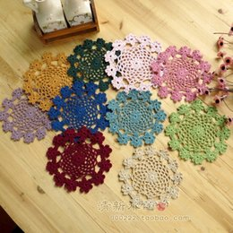 Wholesale Flower Pics Free - Wholesale- free shipping European ZAKKA 5 pic lot crochet cotton pad coaster lace doilies for wedding with flower placemat cup pads mat