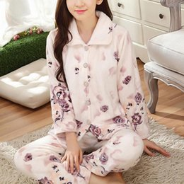 be9da18683 Retail Women Pajamas Floral Sleepwear Warm Flannel Nightwear Autumn Winter Homewear  Long Sleeved Ladies Pyjamas