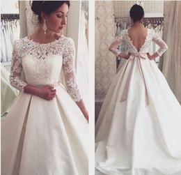 Wholesale Elastic Ribbon Belts - 2017 New Arabic Gorgeous A-line Wedding Dresses Vestios De Novia Lace Appliques Long Sleeves Backless Long Bridal Gowns with Ribbon Belt