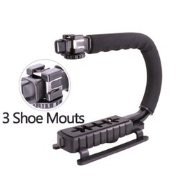 Wholesale Rig For Dslr - 2017 Newest U-Grip Triple Shoe Mount Video Action Stabilizing Handle Grip Rig for Canon Sony DSLR Camera,for iPhone 7 plus Phone Smartphone