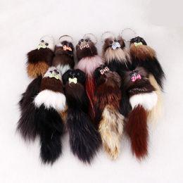 "Wholesale Ring Fox - Women Kids Gift FBA Drop Shipping 7.87""*1.97"" Fox Fur 3D Cute Mouse Squirrel Keychain Handbag Key Ring Car Key C97Q"
