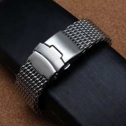 Wholesale Watchband 24mm - Shark Mesh Watchband Bracelets Special End safety Buckle 18mm 20mm 22mm 24mm Watch straps silver stainless steel metal links watch accessory