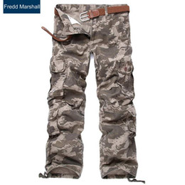 Wholesale Mens Army Camo Cargo Pants - Wholesale- brand design mens track pants plus size palazzo pant men's camo trousers army trousers with pockets tactical cargo pants B206