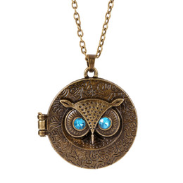Wholesale Opened Box Pendant - Wholesale-Occident Retro Vintage Crystal Charms Blue Eye Owl Round Box Opening Locket Pendant Sweater Necklace For Women Antique