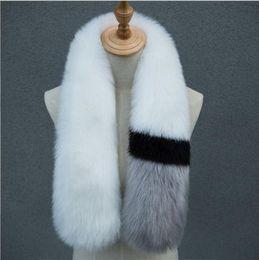 Wholesale Fox Patchwork Scarf - Womens winter scarf luxury brand scarves fox fur scarfs foulards echarpe hiver femme fulares mujer schal 7 COLORS YYA647