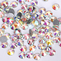 Wholesale Color Metal Spikes - Free shipping High Quality Fashion Decoration DIY SS16 Clear Crystal AB Color Nail Art Round Flat Back Faceted Non Hotfix Rhinestone