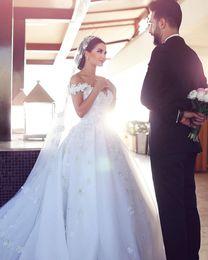 Wholesale Fantastic Wedding - New Fantastic 3D-Floral Appliques Long Wedding Dress 2017 V-neck Sleeveless A-Line Chapel Train Appliques Tulle Bridal Gowns