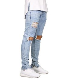 Wholesale Blue Jeans Stretch - Men Jeans Stretch Destroyed Ripped Design Fashion Ankle Zipper Skinny Jeans For Men