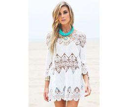 Wholesale Cover Up Swimsuit Shirt Dresses - New Summer Swimsuit Lace Hollow Crochet Beach Bikini Cover Up 3 4 Sleeve Women Tops Swimwear Beach Dress White Beach Tunic Shirt