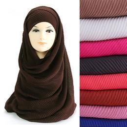 Wholesale Crinkle Scarf Wraps - Wholesale- Large Size 180cm*90cm Pleated Crinkle Women's Hijab Scarf Muslim Head Wrap Shawl Plain Colours