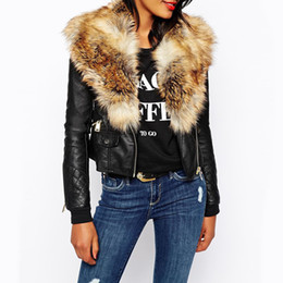 Wholesale Women Biker Jacket Faux Leather - Wholesale- warm fur collar Rainproof black leather jacket women Biker Motorcycle 2016 colete de pele long sleeve punk faux fur Short Coat