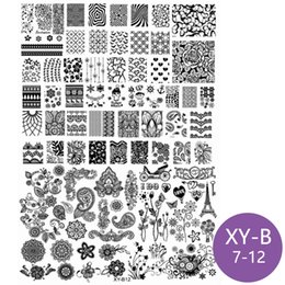 Wholesale Stamping Nail Polishes - New Nail Art Stamping Plate Big Plus Size Stamp Template Flower Skull Glasses Bird Bow Rose Image Polish Transfer Stencil 2017