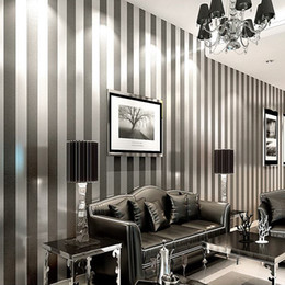 Wholesale Roll Striped Wallpaper - Modern Black Wallpaper Striped Purple And Silver Glitter Wall Paper Roll For Wall Living room Bedroom TV Sofa Backgrod wallpaper