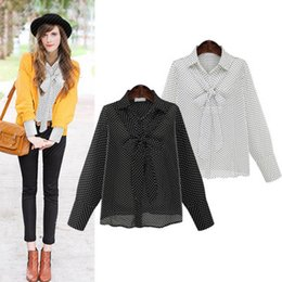 Wholesale Classic Ladies Blouses - office lady chiffon shirt plus size blouse Europe American classic occupation top polka dot 2colors 5sizes