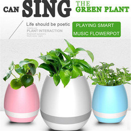 Wholesale White Led Flower Pots - New arrive Creative Bluetooth Smart Music flowerpot Speaker K3 Intelligent Touch Plant Piano Music Flower Pot with colorful LED Night Light