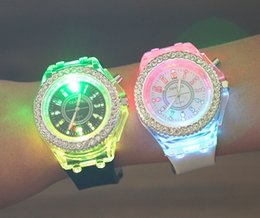 Wholesale Geneva Led Watches - LED Luminous Diamond Luxury Geneva Watches Rubber Silicon colorful lights Watch Quartz Fashion Men and Women Watches Luxury wristwatch