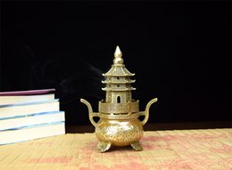 Wholesale Copper Furnace - Pure copper incense burner tower tower incense burner brass aroma furnace trumpet furnace antique smoked furnace