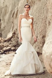 Wholesale Strapless Ruching - 2017 new Stunning Mermaid Bridal Gown Strapless Sweetheart Neckline Organza Beaded Detailing Ruching Mikaella Wedding Dress