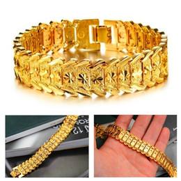 Wholesale 24k Gold Plated Bangles - 2017 New Hot Men's Bracelet 24K Real Gold Plated Chain Bracelet Classic Bracelet Bangle Fashion Jewelry (Color: Gold)