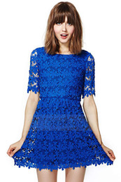 Wholesale Ladies Midi Summer Dresses - 2017 Blue openwork embroidery lace Dress Free Shipping lady dress