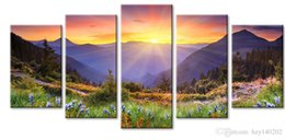 Wholesale Bedroom Framed Wall Paintings - YIJIAHE Fashion Canvas Painting sunrise Pictures Print On Canvas Large 5 Piece Wall Pictures For Living Room Bedroom Office H113