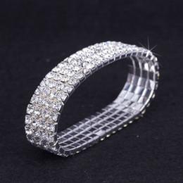 Wholesale Rhinestone Crystal Elastic Bracelet - 12 pieces Lot 4 Row Crystal Diamante Rhinestone Elastic Bridal Bangle Bracelet Stretch Wholesale Wedding Accessories for Women