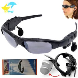 Wholesale Dhl Sunglasses - Sunglasses Bluetooth Headset Wireless Sports Headphone Sunglass Stereo Handsfree Earphones mp3 Music Player With Retail Package DHL FREE