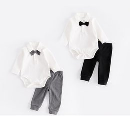 Wholesale Cute Bow Tie - New style autumn style Baby kids cute Gentleman long sleeve garment bow tie boy white romper 100% cotton+pants two sets kids clothing