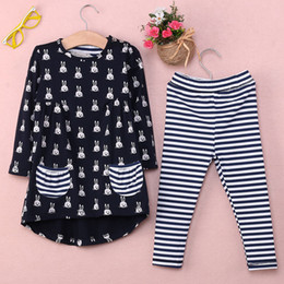 vêtements les plus récents Promotion Vente en gros-2016 enfants plus récents vêtements vêtements pour bébés 2PCS Toddler Bunny Shirt Dress + Leggings rayures Sets Vêtements Outfits