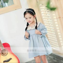 Wholesale Dress Doll Print - Children princess dress girls cotton floral doll lapel pleated dress kids zipper back long sleeve cute clothes red light-blue C0867