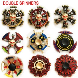 Wholesale Newest Science - 40 types Newest Double Bearings Fidget Spinner EDC Axe Round Compass Metal Hand spinners Dual spin Finger toys spinning top in metal tin