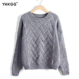Wholesale Cute Sweaters For Women - Wholesale- YHKGG Cotton Colorful Sweater Cross Striped Clothing For Women Cute Wool Sweaters 2017 New Arrival Warm Winter pullovers MY040
