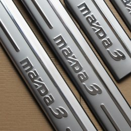 Wholesale Door Sill Scuff Guards - Door sill scuff plate guards fit for Mazda3 2014 -2016 stainless steel 4pcs per set welcome pedal