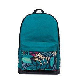 Wholesale Canvas Messenger Bags College - Wholesale- Women Canvas Backpack Leaf Printing Shoulder Bag College Fashion Design Bolsa Femininal Book Pocket BagEurope Style Messenger