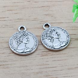 Wholesale Antique Coin Jewelry - MIC 100pcs Antique silver Alloy Australian Elizabeth Coin Charms Pendant DIY Jewelry 16x19.5mm (Antique silver )