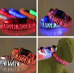Wholesale Glowing Cat Collars - Zebra Pet Dog LED Collar Glow Cat Collars Flashing Nylon Neck Light Up Training Collar for Dogs