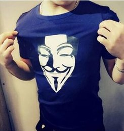 Wholesale Vintage T Shirts Wholesale - Wholesale- 2017 Brand Summer V for Vendetta Anonymous Guy Fawkes Mask Men T Shirts O Neck Short Sleeve Vintage Tops Male Tees Tshirts