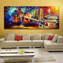 Wholesale Music Paintings Canvas - 100% Handpainted Music Instrument Canvas Oil Painting Violin Candlelight Tableware Picture for Living Room Home Decor Wall Art