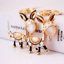 Wholesale Donkey Key Chain - Female Metal Car Keychains Donkey Horse Crystal Gem Pendant Luxurious Key Chains Jewelries Beautiful Accessories 2017 New Free Shipping