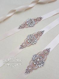 Wholesale Satin Pearl Wedding Dress - Handmade Rose Gold Rhinestones Appliques Wedding Belt Clear Crystal Sewing on Bridal Sashes Wedding Dresses Sashes Bridal Accessories T27