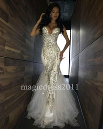Wholesale Gold Bare - Sexy White Evening Prom Dresses 2017 Mermaid Sweetheart Major Beaded Bare Back Soft Tulle Long Formal Gown Celebrity Dress for Party