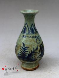 Wholesale Antique Blue Ceramic Vases - Jingdezhen old antique ceramics decoration flower vase desktop Decor blue and white animal figures