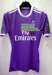 Wholesale Slim Short Free Shipping - 2016 17 ucl jersey, 10 James, Cristiano Ronaldo 7, player version slim fit, away purple real madrid nice jersey, free shipping top !