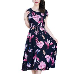 Wholesale Wholesale Runway Clothing - Wholesale- Runway 2017 women summer dress casual women clothing loose print cotton vestidos floral long dresses vintage plus size 5XL