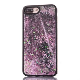Wholesale diamond bling heart iphone - Quicksand Liquid PC TPU Case For IPhone 8 7 6 6S Plus Star Heart Love Diamond Dynamic Bling Glitter Sparlke Black Fashion Phone Cover 100pcs