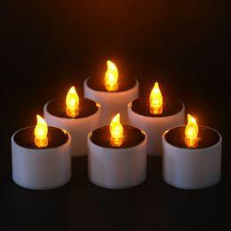 Wholesale Electronic Warming - 6 Pcs Set Yellow Flicker LED Lights Solar Power Candles Flameless Electronic Nightlight Candle Warm Light