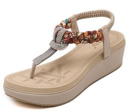 Wholesale Wedges Large Sizes - 2017 New National Summer Sandals Women'S Bohemia Diamond Shoes Women Summer Shoes With Large Size Women's Sandals G252