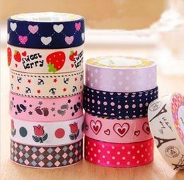 Wholesale Decorative Curtain Fabric - Colorful Washi Fabric Tape DIY Satin Decorative Scrapbooking Stickers Masking Tapes Holiday Party Home Self-Adhesive Decor