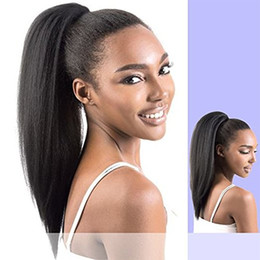 Wholesale New Yaki Hair - Hot new Virgin Brazilian Yaki Kinky Straight Ponytail Human Hair Wrap Around Pony tail Extensions 120g natural color Coarse Straight